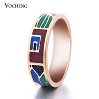 africa band - 6mm Wide Stainless Steel K Gold Plated Party Jewelry Africa Style Enamel Ring VR Vocheng Jewelry