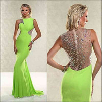 Cheap Lime Green Elastic Satin Prom Dresses Sexy See Through Illusion Shoulder Sleeveless Mermaid Bridesmaid Gowns Sweep Train Formal Evening Gown