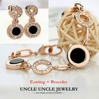 Wholesale Classic Black Round Woman Jewelry Set Rose Gold Plated Rhinestone Enamel Craft Modern Polka Dot Style Bracelet Earring KRGP