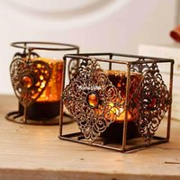 amber candle holders - Fashion Classical Bronze Color Iron Candle Holder Decoration Bohemia Amber Stones Candle Holder Wholesales