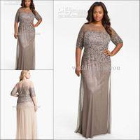 Wholesale 2015 New Arrivals Charming Luxious A Line Crew Floor Length Half Sleeve equins Chiffon Plus Size Special Dresses