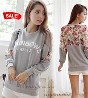 Cheap New Women Clothing Cotton Shirt Loose Tops Letter Lace Stitching Flower O-Neck Ladies Pretty Women camisa dudalina feminina