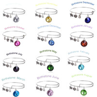 Wholesale 2015 New Birthstone Crystal Pendant of Months Birthstone Alex and Ani Charm Wiring Bracelet expandable bangles Free DHL Shipping