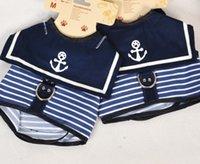 Wholesale Dogs Navy Clothing Striped Preppy Style Seaman Sleeveless Vest Tank Pet Puppy Dog Apparel Cat Collar Summer Fashion Clothing J4856