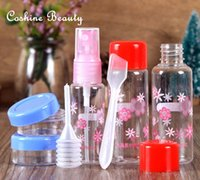 Wholesale 7pcs set Simple Empty PET Travel Transparent Shampoo Purfume Atomizer Spray Bottles Refillable Spray Trabel Bottle Set