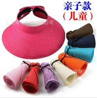 Cheap Fashion Beach Sun Visor cap hat Lady and children parent-child style Foldable Roll Up Wide Brim Straw Hat Cap
