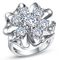Wholesale Silver jewelry sterling silver ring fashion natural crystal K gold Flowers ring crystal women rings