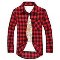 al por mayor s de los hombres con estilo ocasional-Las camisas de vestido Checkered de los hombres de la camisa de tela escocesa de la franela de los nuevos hombres 2016 envueltos largos adelgazan el envío libre M ~ XXL de la manera con estilo