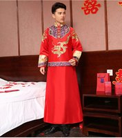 Wholesale NEW Chinese Traditional Bridegroom Clothes Tang Suit Gold Embroidery Ancient Costume Top Grade Gragon Groom Wear