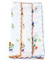 Wholesale Ladies Child Cotton Flower Vintage Handkerchiefs Quadrate Hankies