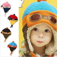 Wholesale Toddlers Warm Flight Cap Hat Beanie Cool Baby Boy Girl Kids Infant Winter Pilot Aviator Cap