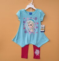 Cheap FROZEN cartoon children clothes suit (T shirt + leggings). ELSA girl in blue short-sleeved. Cotton pants baby clothes in stock sale 8sets Q8