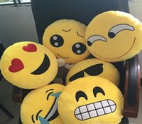 Wholesale NEWEST Cushion Cute Lovely Emoji Smiley Pillows Cartoon Facial QQ Expression Cushion Pillows Yellow Round Pillow Stuffed Plush Toy B214