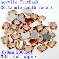 acrylic facet - Good sale rectangle earth facets acrylic x8mm flat back square shape glue on acrylic beads decorate diy