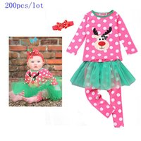 Cheap 200pcs lot SamgamiBaby Christmas long sleeve Cotton Fawm printed t-shirt +polka mesh pants hairbands outfits in stock Autumn for Baby