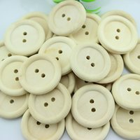 Wholesale 100pcs pack Large Round Buttons Wooden holes Retro Wood Craft Decor mm for Sewing craft wall decor