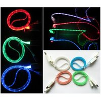 Wholesale NEW Easy Visible LED Light Micro USB Sync DATA Charger Cable for iphone5 s