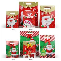 shopping bags paper - 12 Set Styles New Merry Christmas Paper Bags Christmas Shopping Gift Bags Santa Claus Snowman Moose Pattern Bags Size