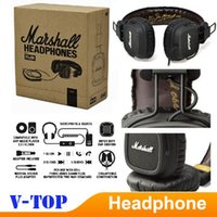 Cheap Original Marshall Major Leather Noise Cancelling Deep Bass Stereo Monitor DJ Hi-Fi Headphones Headset W Remote HK free shipping