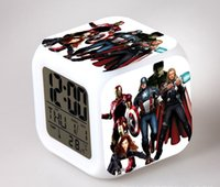 Wholesale Superhero Colorful flash lights clock Trendy Avengers Logo Marvel Hot Movie Night Colorful Glowing Alarm Multicolor clock a852