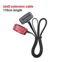 Wholesale 110CM Length Flat Thin Noodle obd2 extension cable OBD pin Connector Adaptor Male to Female Splitter