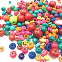 Wholesale 200Pcs Pack MIXED STYLE COLORFUL Wooden Round Bead Loose Spacer For Charm Bracelet
