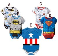 Wholesale 2015 Spring Summer Cotton Short Sleeve Superman Baby Rompers Newborn Infant Clothing Toddler Boy Jumpsuits