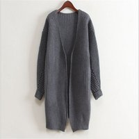 Wholesale Women Korean Long Cardigan Open Stitch Casual Knitted Coat Autumn Winter Fashion Ladies Street Wear Outwear