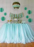 al por mayor mentas la ducha del bebé-100 * 80cm verde menta Tulle Tabla Faldas boda Tutu Decoración de Mesa barato creativo bebé Lluvia Partido cumpleaños por encargo de la decoración