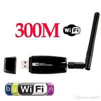 al por mayor adaptador de red inalámbrico externo-Mini 300Mbps Wireless USB WiFi de la red Wi-Fi Wi-Fi adaptador 2.4GHz ISM con antena externa redes 802.11n / g / b
