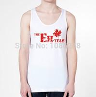 Cheap 2014 new fashion men women TANK TOP THE EH TEAM funny a retro canada canadian flag swag mens vest design print cotton shirt tee