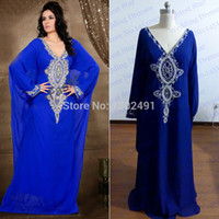 Wholesale Real Sample V Neck Beaded With White Pearls A Line Long Sleeve Royal Blue Evening Dress abaya in dubai Kaftan Arabic Party Gown