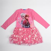 Cheap Lolita Style Frozen Lace Dress Children Lovely Pink Printed Long Sleeve Skirt 100% Cotton