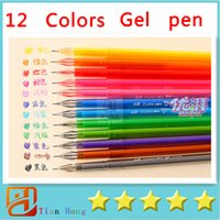 art material supply - 12 color diamond Gel pen Cute pen Stationery Novelty gift Caneta papelaria Office material escolar school supplies