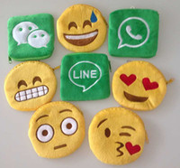 Wholesale 24 pieces Styles Coin Purses Cute Lovely Emoji Smiley purse Cartoon Facial QQ Expression Cushion Pillows Yellow Round Stuffed wallet
