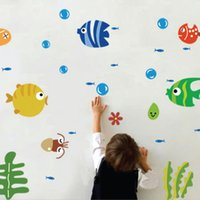 baby nursery furniture - Marine fish bubble wall stickers baby room nursery school children cartoon cute Q version of home improvement furniture Wall Sti
