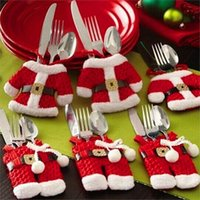 Wholesale 20pcs Handmade Lovely Clothes Pants Shaped Christmas Cutlery Suit Silverware Holder Knives and Forks Pockets