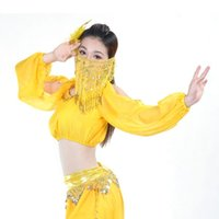 Wholesale New Belly Dance Costume Handmade Gold Coins Padded Top Bra Lantern Long Sleeve Shirt FG1511