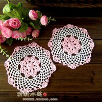Wholesale Beautiful Fresh water handmade crochet cotton woven pattern decoration mat disc pad table mat color block multicolour