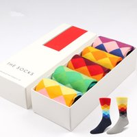 Wholesale New Brand Happy socks Style Fashion Men s Rainbow Socks Men s Casual Cotton Socks