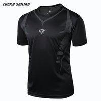 Al por mayor-LUCKY SAILING Nuevo 2015 Summer mejores camisas de los hombres tailandia calidad de secado rápido del deporte corriendo camisa de los hombres camisetas camiseta de fútbol