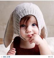 babys hat - Hug Me Childrens Babys Cap Rabbit ears Hats Grils and Boys Kids New Autumn Winter Ballins Warm Cotton Hats ZZ