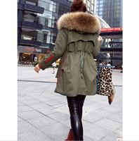 Wholesale winter jacket women coats thick new winter coat women parkas army green Large raccoon fur collar hooded coat woman outwear