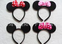 Hair Combs Lace Floral mouse ears headband hoop dance festival Childrenmickey and Minnie mouse ears headband baby headband Christmas birthday party supplies