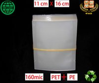 Wholesale 140 WHB x16cm mic or mil recyclable PET PE clear bags unsealed packing bags for grain and frozen foods
