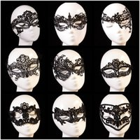 Wholesale Mixed Sexy Charming Exquisite Cutout Tassel Black Lace Masks Goggles Lady Queen Half Face Mask Halloween Masquerade Wedding Party