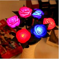 Candle Lights Floral 0-5W One Piece Wedding Party Bedroom Decor Romantic LED Night Lights Lamp Rose Home Accessories CY32