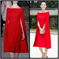 amazing designers - Amazing Off Shoulder Designer Prom Dresses With Cape Tea Length Formal Poncho Simple Style Women Party Dress