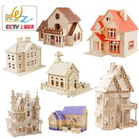 architecture building construction - Architecture Construction Small Purple Red Villa Cabin Building Toys DIY D Puzzle Miniature Model Educational Toys