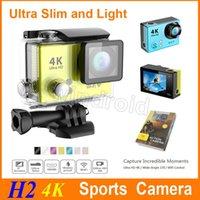 Original H2 Super Slim Ultra HD 4K caméra vidéo Sports 170 degrés grand angle d'action Cam HDMI WIFI étanche 30m 20pcs